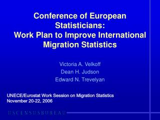 Conference of European Statisticians: Work Plan to Improve International Migration Statistics