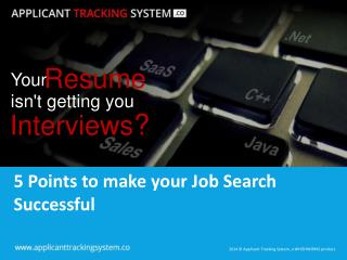 5 Points to make your Job Search Successful