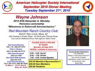 Wayne Johnson 2010 AHS Alexander A. Nikolsky  Honorary Lectureship  Milestones in Rotorcraft Aeromechanics