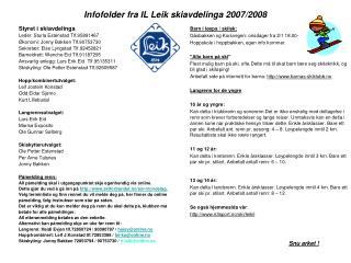 Infofolder fra IL Leik skiavdelinga 2007/2008