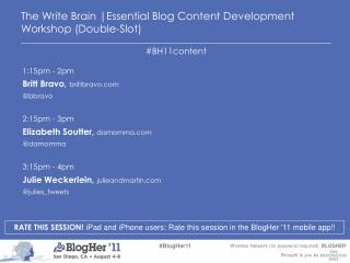 The Write Brain |Essential Blog Content Development Workshop (Double-Slot)