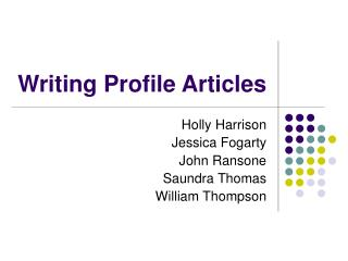 Writing Profile Articles