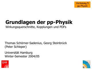 Grundlagen der pp-Physik Wirkungsquerschnitte, Kopplungen und PDFs