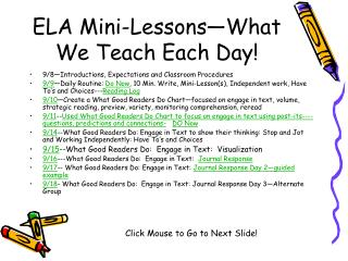 ELA Mini-Lessons What We Teach Each Day