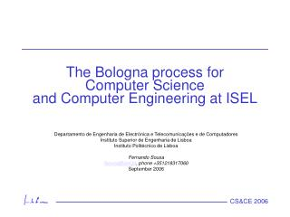 The Bologna process for Computer Science and Computer Engineering at ISEL