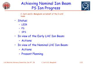 Achieving Nominal Ion Beam PS Ion Progress