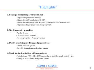 �Highlights�