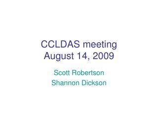 CCLDAS meeting August 14, 2009