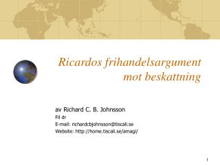 Ricardos frihandelsargument  mot beskattning