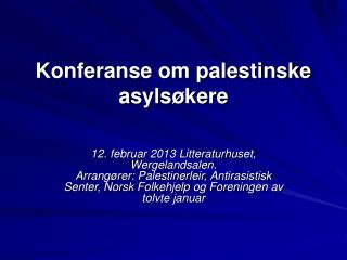 Konferanse om palestinske asylsøkere