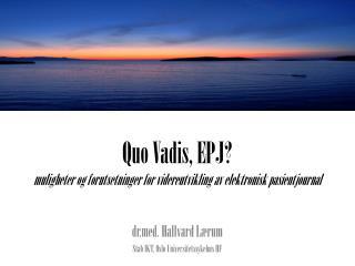 Quo Vadis, EPJ?  muligheter og forutsetninger for videreutvikling av elektronisk pasientjournal