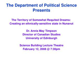 The Department of Political Science Presents