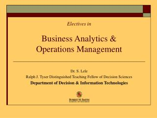 Electives in Business Analytics & Operations Management