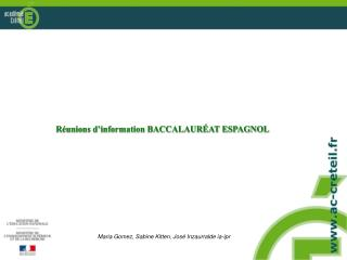 R�unions d�information BACCALAUR�AT ESPAGNOL