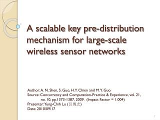 A scalable key pre-distribution mechanism for large-scale wireless sensor networks
