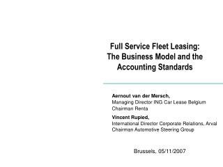 Full Service Fleet Leasing:  The Business Model and the Accounting Standards