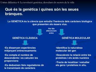Unitat didàctica 4: La revolució genètica; desvelant els secrets de la vida