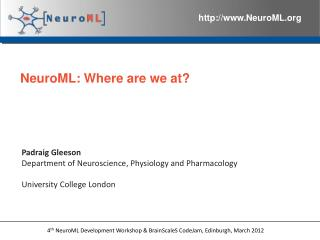 NeuroML: Where are we at?