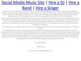 Hire a Dj&Hire a Band&Hire a Singer&Social Media Music Site