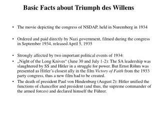 Basic Facts about Triumph des Willens