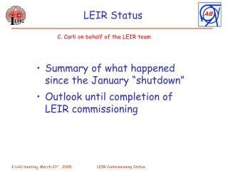 LEIR Status