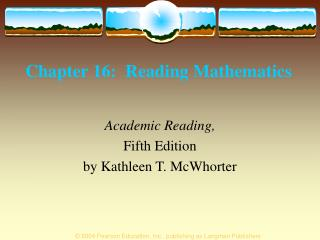 Chapter 16:  Reading Mathematics