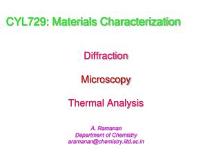 CYL729: Materials Characterization