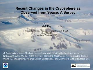 Recent Changes in the Cryosphere as Observed from Space: A Survey