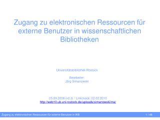 Zugang zu elektronischen Ressourcen für externe Benutzer in wissenschaftlichen Bibliotheken