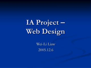 IA Project  – Web Design