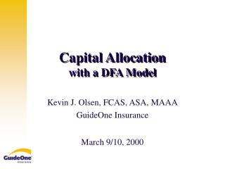 Capital Allocation  with a DFA Model