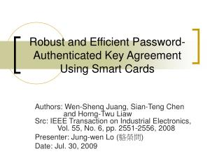 Robust and Efficient Password-Authenticated Key Agreement Using Smart Cards