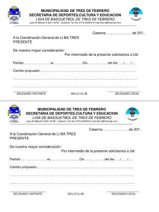 MUNICIPALIDAD DE TRES DE FEBRERO SECRETARIA DE DEPORTES,CULTURA Y EDUCACION