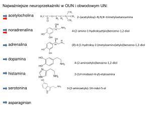 Najważniejsze neuroprzekażniki w OUN i obwodowym UN:      acetylocholina      noradrenalina