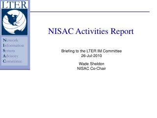 NISAC Activities Report
