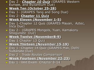 Day 2 -  Chapter 10 Quiz  (GRAPES Western Europe, and Byzantium Due) Week Ten (October 25-28)