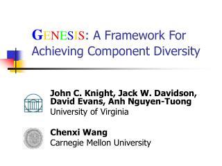 G E N E S I S : A Framework For Achieving Component Diversity
