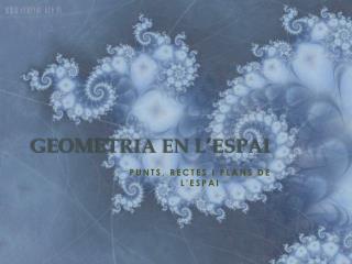 GEOMETRIA EN L'ESPAI