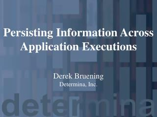 Persisting Information Across Application Executions