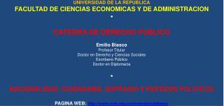 UNIVERSIDAD DE LA REPUBLICA FACULTAD DE CIENCIAS ECONOMICAS Y DE ADMINISTRACION •