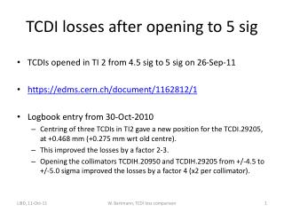TCDI losses after opening to 5 sig