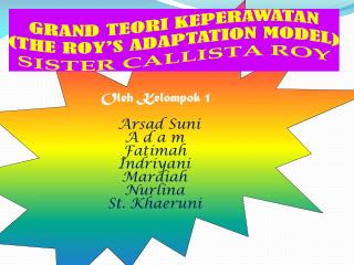 GRAND TEORI KEPERAWATAN (THE ROY'S ADAPTATION MODEL) SISTER CALLISTA ROY