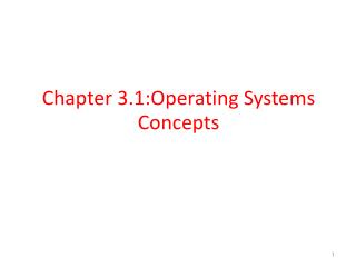 Chapter 3.1:Operating Systems Concepts