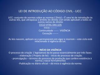 LEI DE INTRODUÇÃO AO CÓDIGO CIVIL - LICC