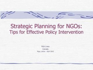 Strategic Planning for NGOs: Tips for Effective Policy Intervention