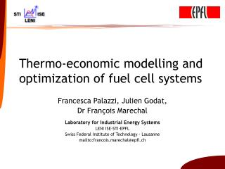 Thermo-economic modelling and optimization of fuel cell systems
