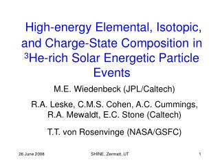 M.E. Wiedenbeck (JPL/Caltech)