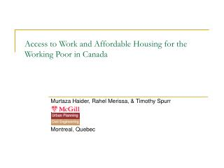 Access to Work and Affordable Housing for the Working Poor in Canada