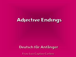 Adjective Endings