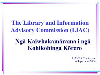 The Library and Information Advisory Commission (LIAC)